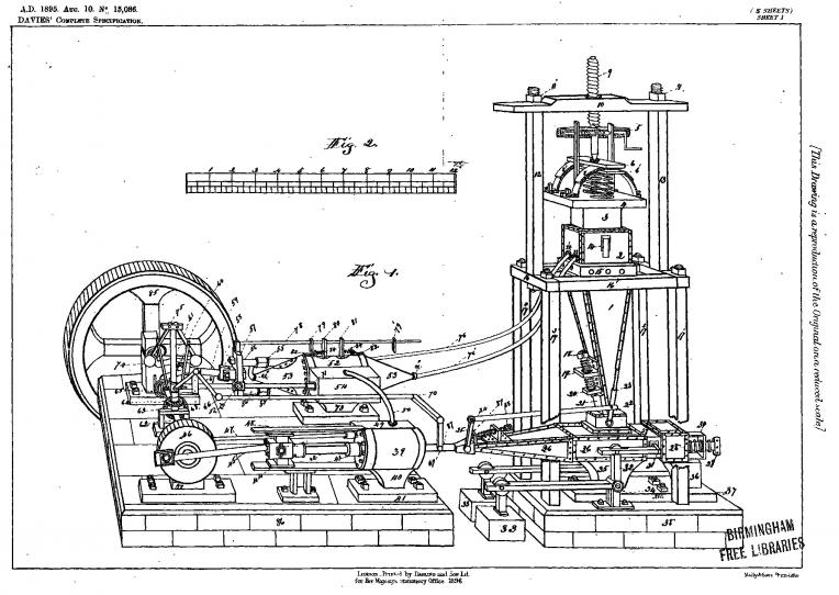 Illustration fra patentansøgningen GB189515086A Perpetual Engine for Heavy Stationary Work - gengivet fra databasen Espacenet