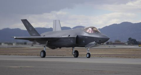 F-35 Joint Strike Fighter - An F-35A Lightning II taxies from the runway onto the flightline after successfully completing a sortie Dec. 14, 2015, at Luke Air Force Base, Ariz.