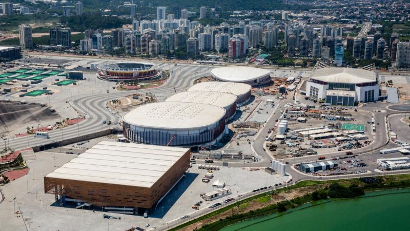 Future Arena (foreground), Arenas Cariocas 1, 2 and 3 and Velodrome (in the background), at Barra Olympic Park Rio OL