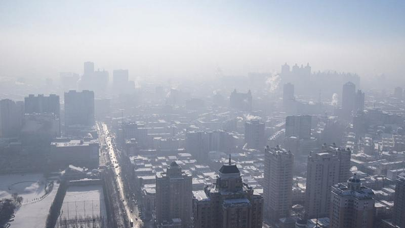 An image depicting the heavy levels of smog in Harbin, China.